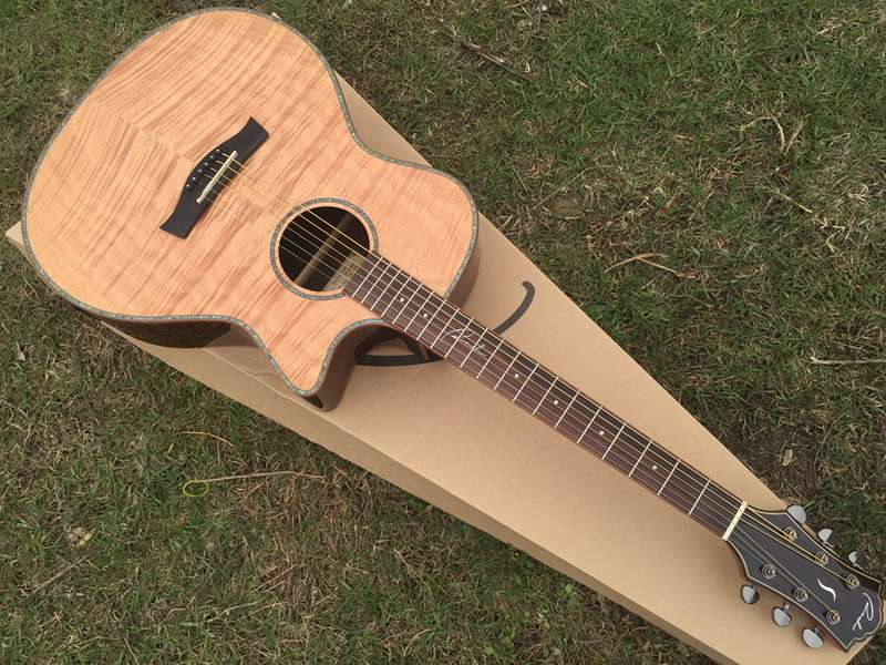 2016 new design  hand made flame maple acoustic guitar with electric tuner with celluloid binding free shipping цена и фото