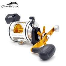 CAMEKOON Saltwater Fishing Reels With Line Counter Degree Wind Drum Trolling Reel