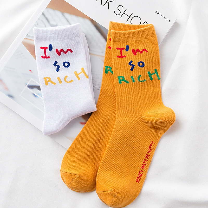 New Arrival Women Hipster Skateboard   Socks   I am So Rich Funny Letter Patterned   Socks   Hrajuku Women Summer Cool Skateboard Sox