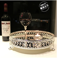 European metal cake pan decoration crystal tray serving tray mirror tray silver trays for home decoration FT006