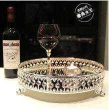 Europeo de plata metálica decoración bandeja de plato de fruta pan pastel bandeja de cristal FT006