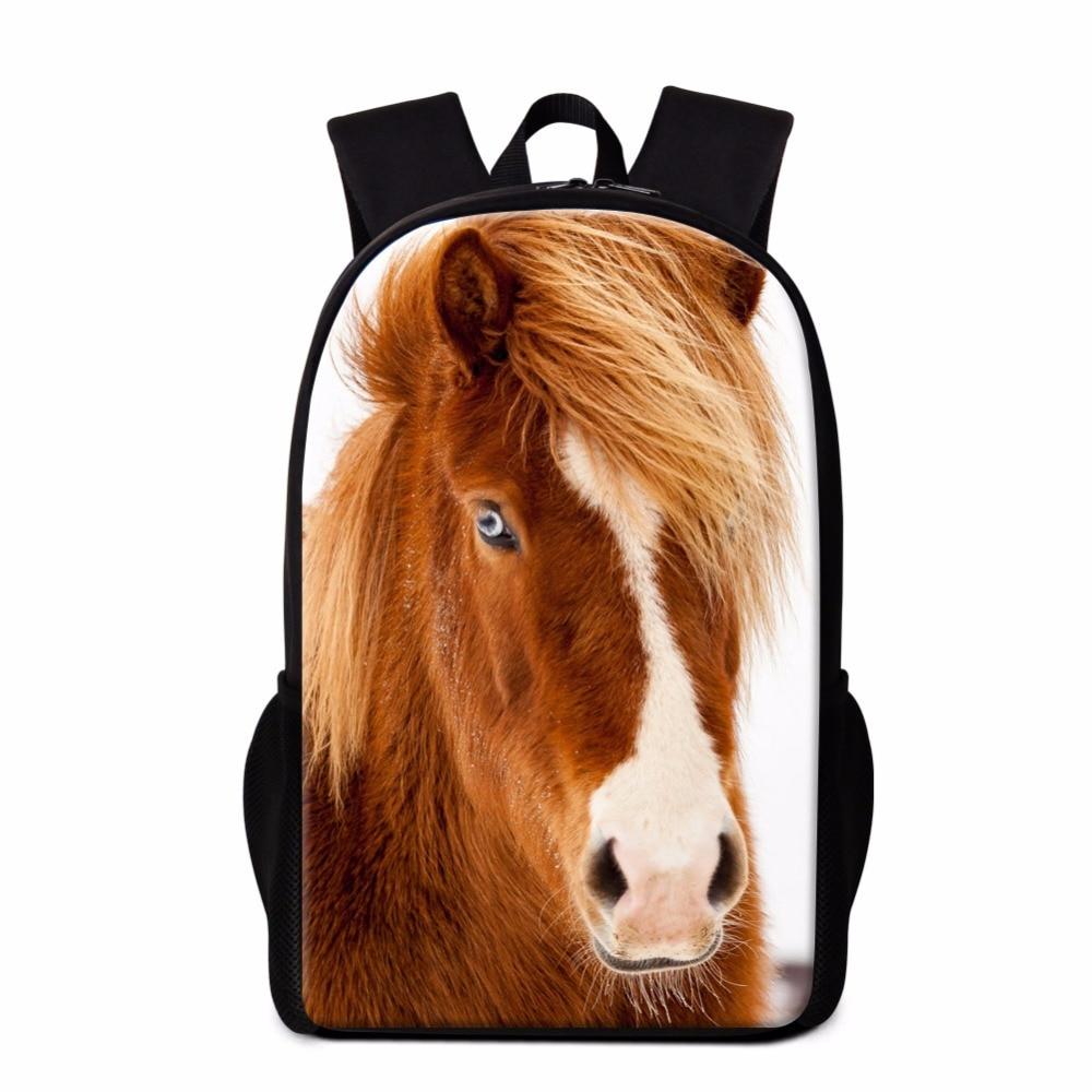 Dispalang Horse Backpack for Girls Cool School Bag Animal Print Bookbag for Children Boys Fashion Day Pack Rucksack Kids Mochila