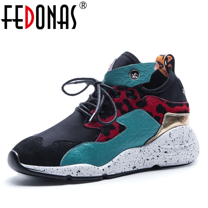 FEDONAS Brand Women Genuine   Leather   Mix Colors Casual Shoes Woman Wedges Heels Ladies 2018 Sport Breather Sneakers Patform Shoes