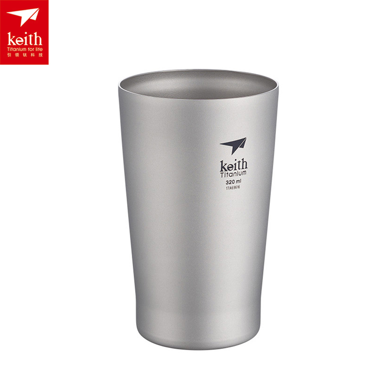 Keith 320ml Titanium Cup Double Walled Beer Cup Lightweight Coffee Mug Home Outdoor Portable Cups