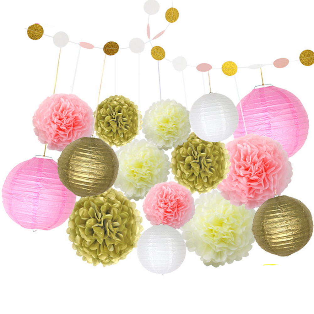 Birthday party backdrop tissue paper pom poms product on alibaba com - 16pcs Set Hanging Tissue Paper Pom Poms Artificial Flowers Paper Lantern Ball Circle Banner Birthday Wedding Party Decoration