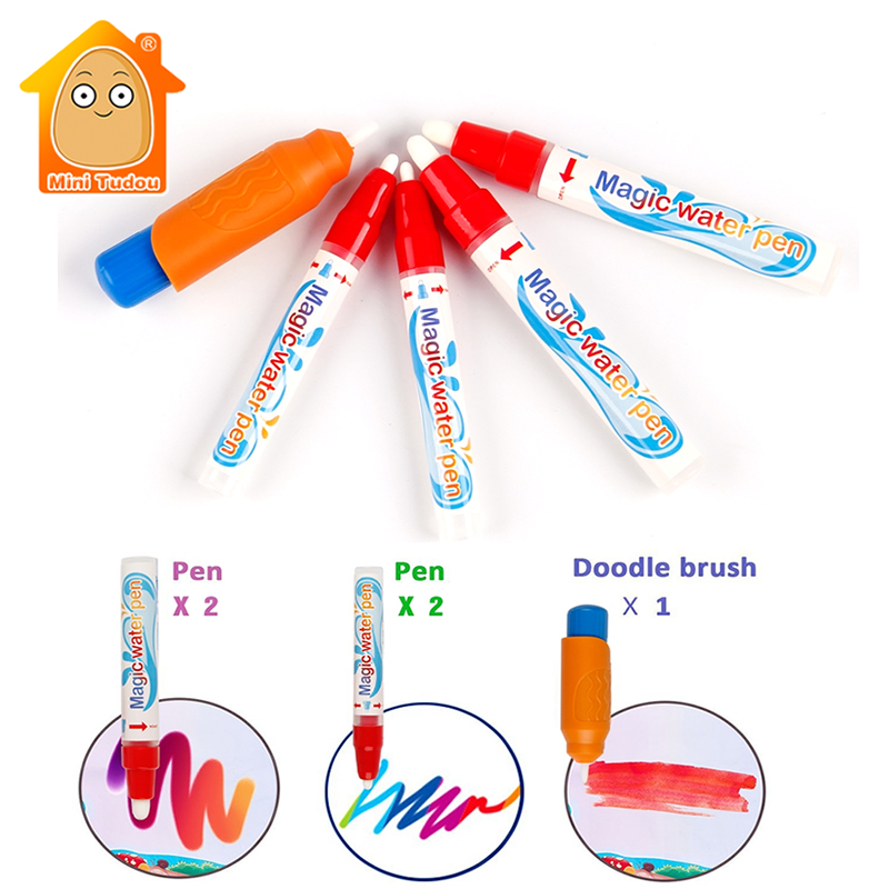 5PCS/Set Water Painting Pen And Brush Water Drawing Mat Parts Magic Pen Child's Learning Drawing Toy Bags Packing