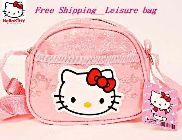 0e1c3e1d18 Free shipping Hello Kitty bag 10pcs lot sling bag lovely Leisure bag  fashion shoulder bag girls  or children s favorate pink