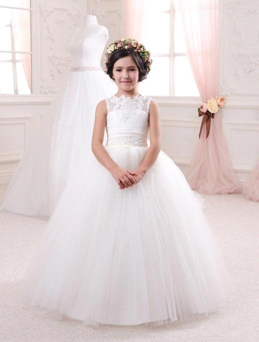 2016 New Hot Ball Gown Tulle Flower Girl Dresses Appliques Open Back Bowknot Girls First Communion Dress Elegant Princess Dress