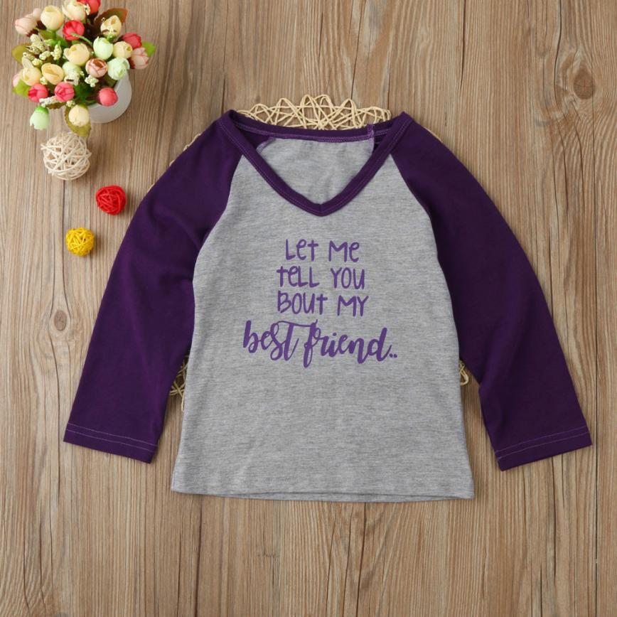 Kids Children Baby Gils Letter Print Blouse Tops T-Shirt Splice Clothes Outfit D50