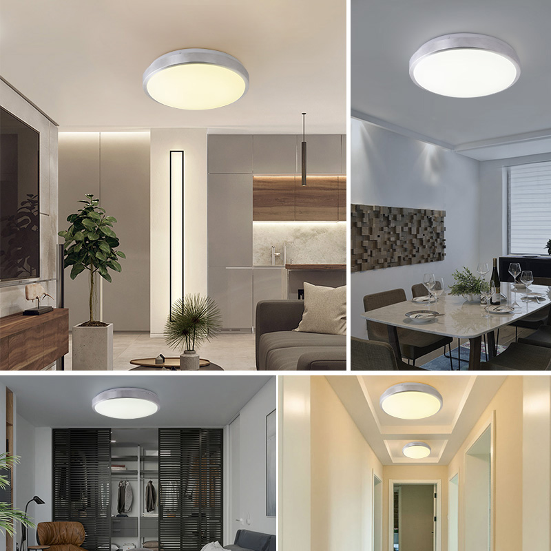 ISRAMP ceiling light fixture white LED dimmable flush bathroom ceiling light 12W 48W stepless dimming color changeable in Ceiling Lights from Lights Lighting