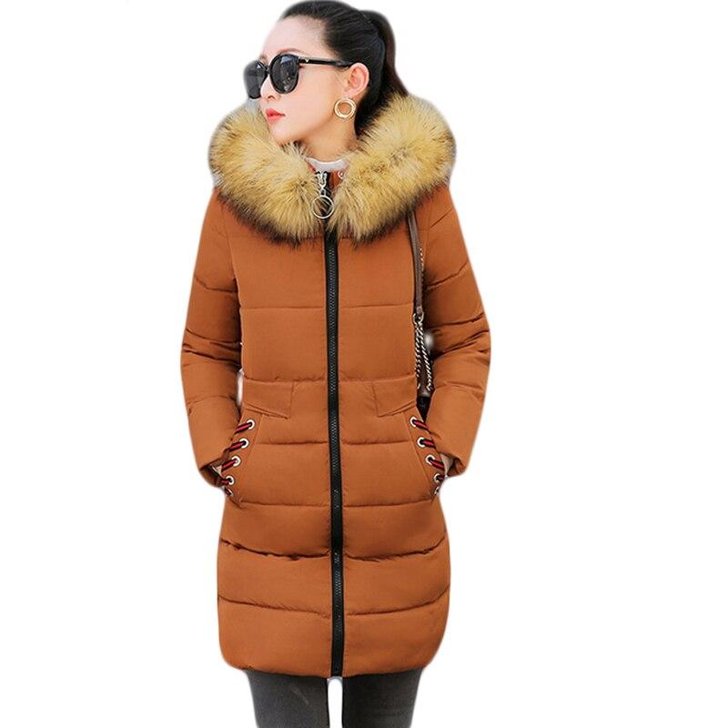 2019 Fur Collar Hooded Winter Jacket Women Long Cotton Female Coat Thicken   Parka   Outerwear Womens casaco feminina inverno D342