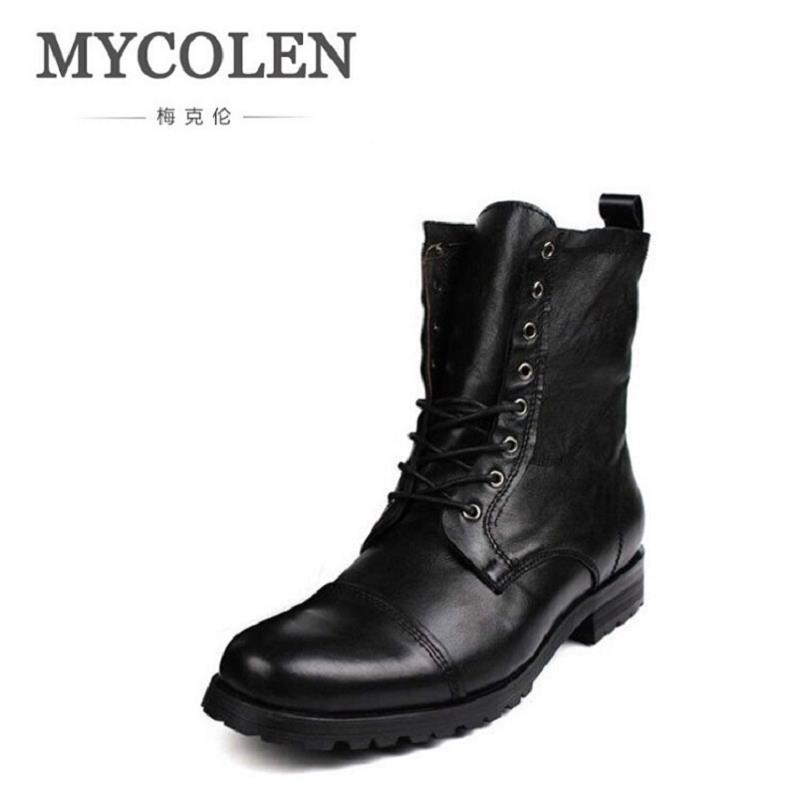 MYCOLEN New Winter Men Boots High Quality Black High-top Leather Men Shoes England Fashion Lace Up Martin Boots Erkek Ayakkabi top new men boots fashion casual high shoes cowboy style high quality lace up classic leather ankle brand design season winter