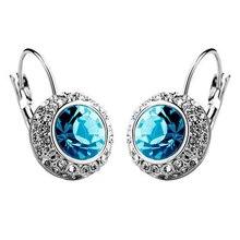 1 Pair Women's Fashion Ear Stud Earring silver+blue