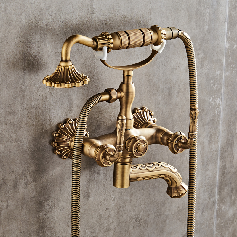 Luxury Antique Brass Bathroom Faucet Mixer Tap Wall Mounted Hand ...