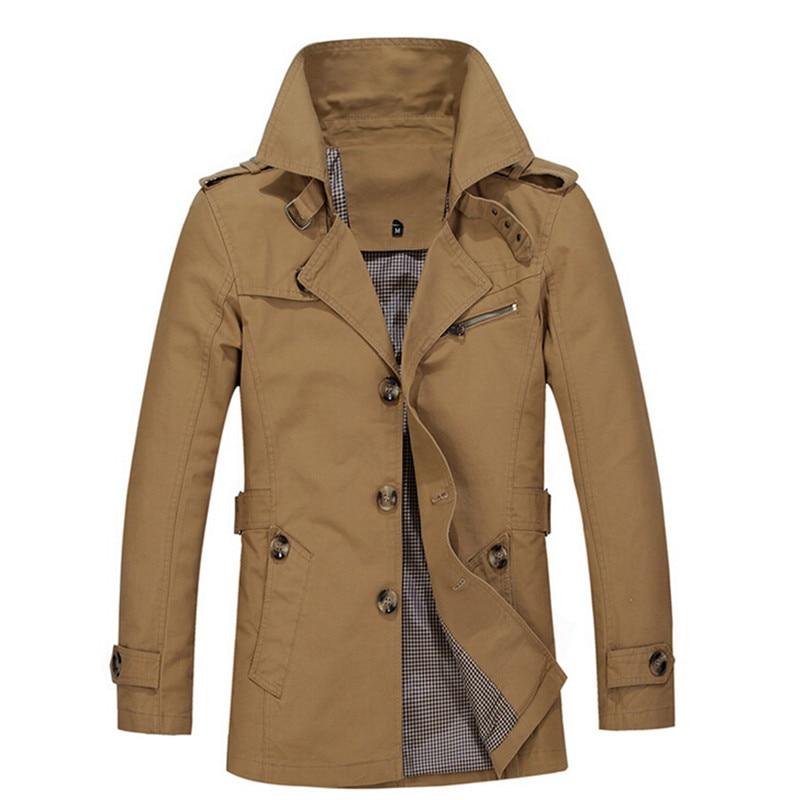 Hommes Slim Manteau 2016 Nouvelle Vente Chaude Brun Longue Veste - Vêtements pour hommes - Photo 3
