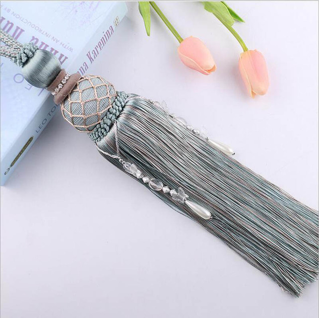 One pair pearl Home Decoration Window curtain clips accessories Hanging Belt Ball curtain strap Curtain tassel tieback Buckle