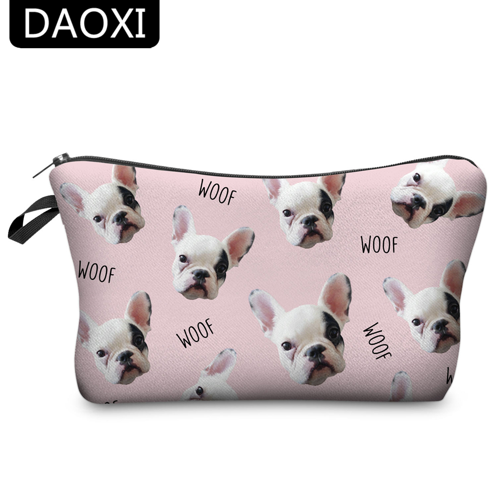 DAOXI Animal Cosmetic Bags 3D Printing Dogs Women Pink Makeup Case Cute Gift