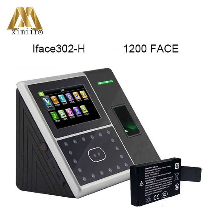 TCP/IP Face And Fingerprint Time Attendance And Access Control Iface302-H 1200 Face Templates Time Clock With Backup Battery