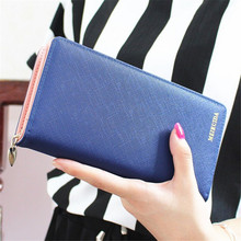 2017 Women Ladies Fashion Long Wallets Cards Holders Candy PU Leather Coin Purses Clutch Handbag High Quality Free Shipping P407