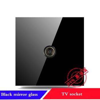 EU France Germany UK socket Full set of 86 type 1 2 3 4 gang 1 2way black mirror glass wall switch LED light switch Industry 8