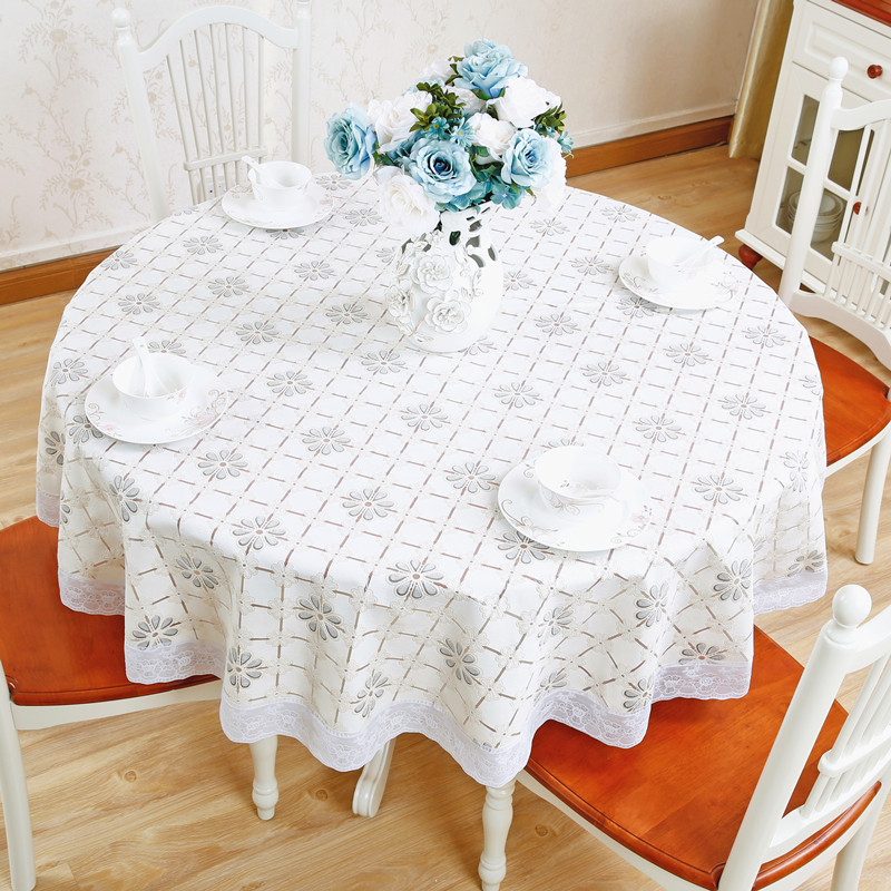 NIOBOMO flower plastic PVC round tablecloth waterproof and oiproof garden hotel home dining table cloth