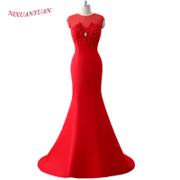 NIXUANYUAN 2018 New Red Satin Bridal Wedding Gown Appliques Beading Wedding Dress 2017 Mermaid Cap Sleeve Cheap vestido de noiva