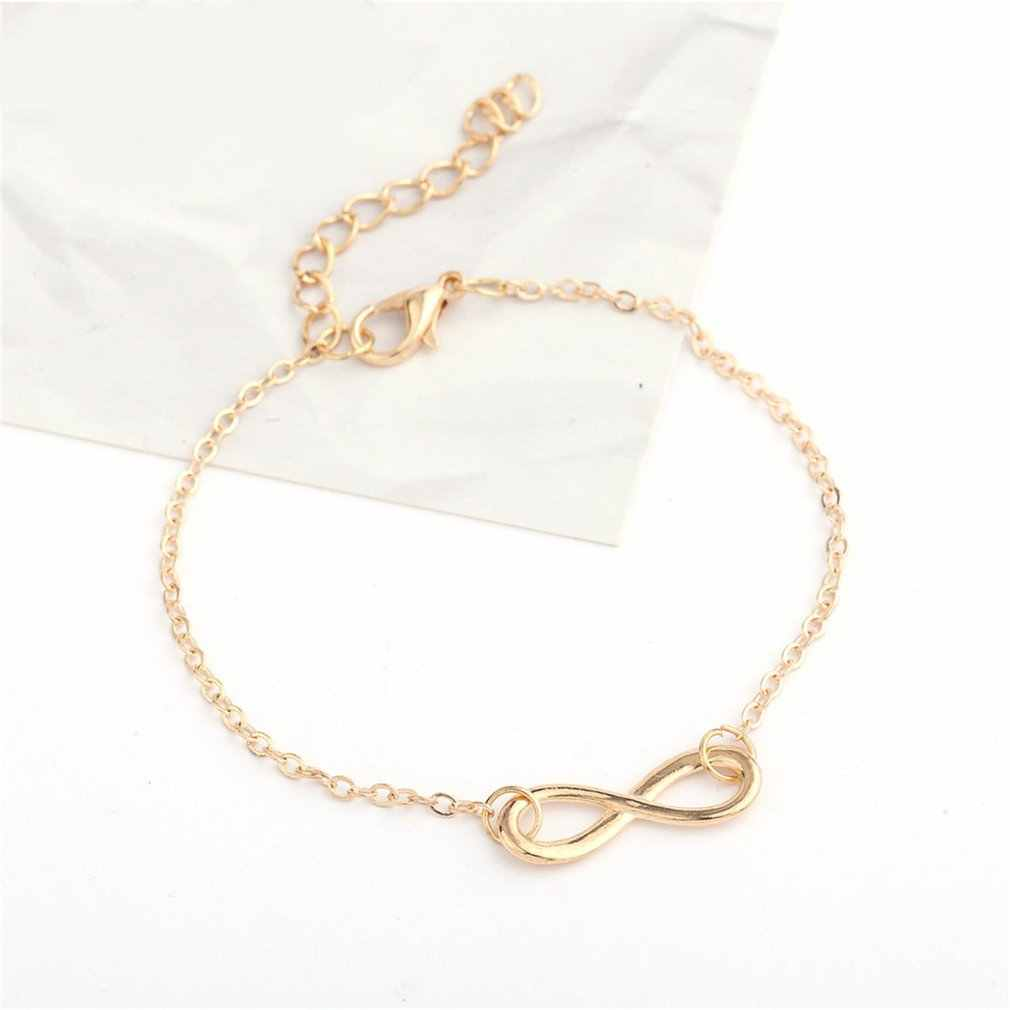 Simple and Auspicious Digital Personality 8 Character Bracelet For Women Girls Rope Chains Cute Romantic Elegant Golden Color