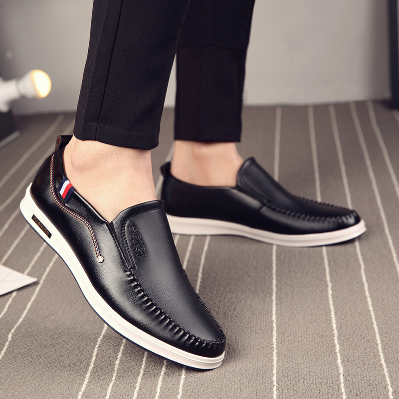 OSCO 2018 Casual Shoes Men Fashion Handmade Slip On Shoes Luxury Brown Brand Male Shoes Split Leather Men's Leisure Shoes cangma british style leather pointed shoes tassel casual men handmade designer leisure slip on shoes 2017 male sapato masculinos