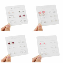 6 Pairs/set 2019 Fashion Stud Earrings Set for Women Stars Heart Crystal Cute Geometric Jewelry Gift Monday To Saturday