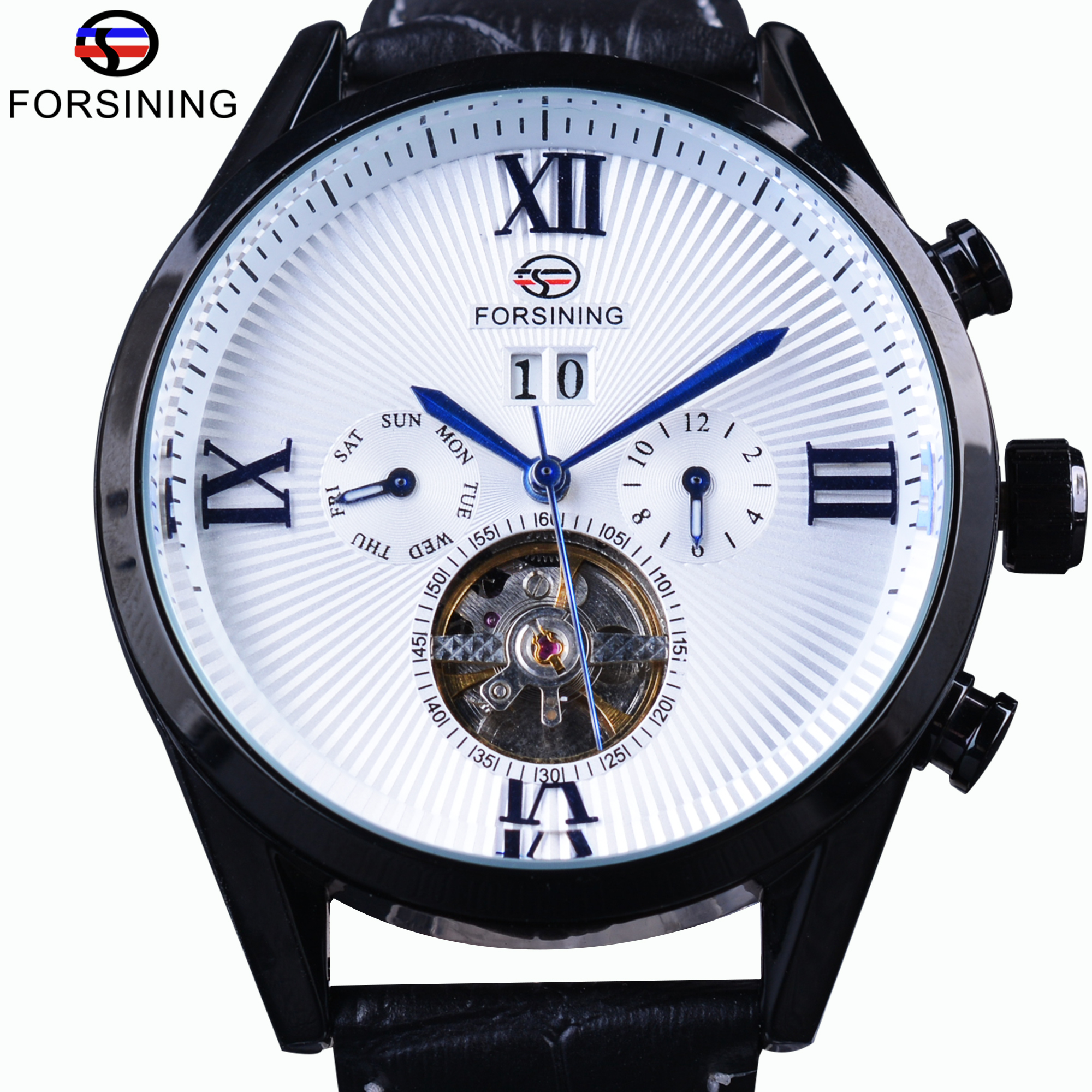 Forsining Classic Blue Hand Tourbillion Roman Number Calendar Genuine Leather Automatic Men Mechanical Watches Top Brand Luxury цена