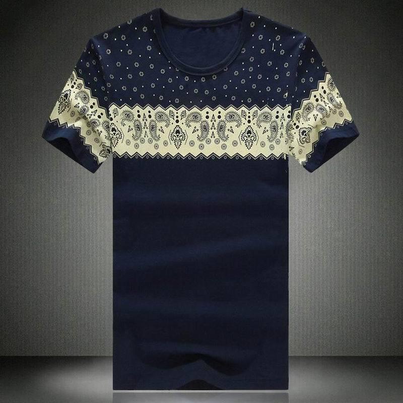 New mens t shirt 2015 summer listing fashion cashew for Printed t shirts mens fashion