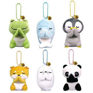 Keychain Dolls Pendant Plush-Toys Animals Stuffed Panda Frog for Kids Bags 6-Styles 8CM
