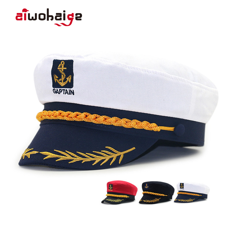 Captain's Retro Navy Flat Coral Caps Makeup Ball Uniform Hats Boys Fashion Outdoor New Simple Casual Brand Yacht Captain Hat