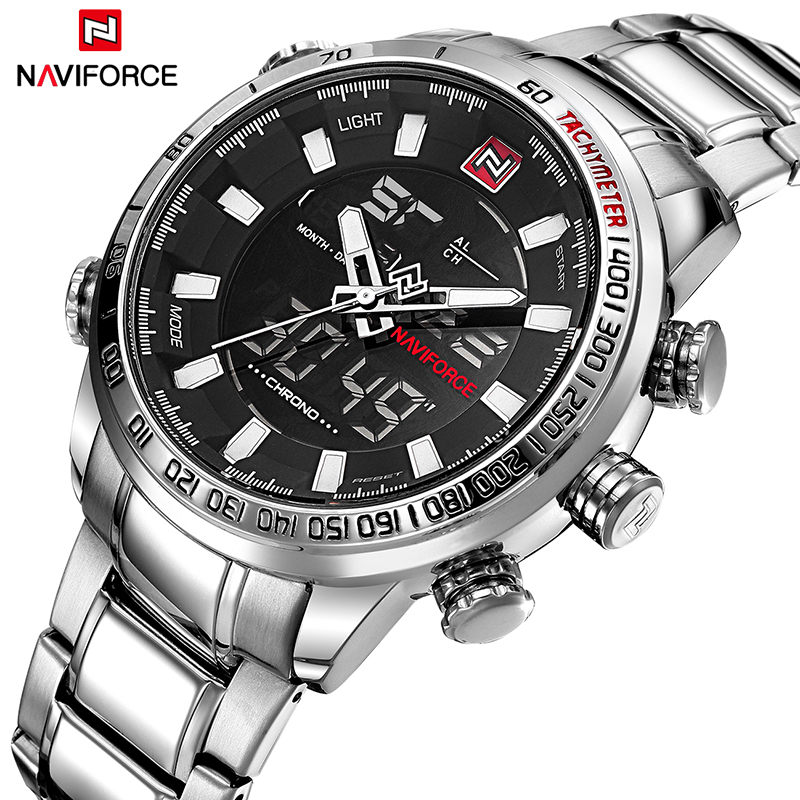 NAVIFORCE Brand Men Sport Watches Fashion Steel Band Quartz Wristwatches Army Military Waterproof Date Clock Relogio Masculino стоимость
