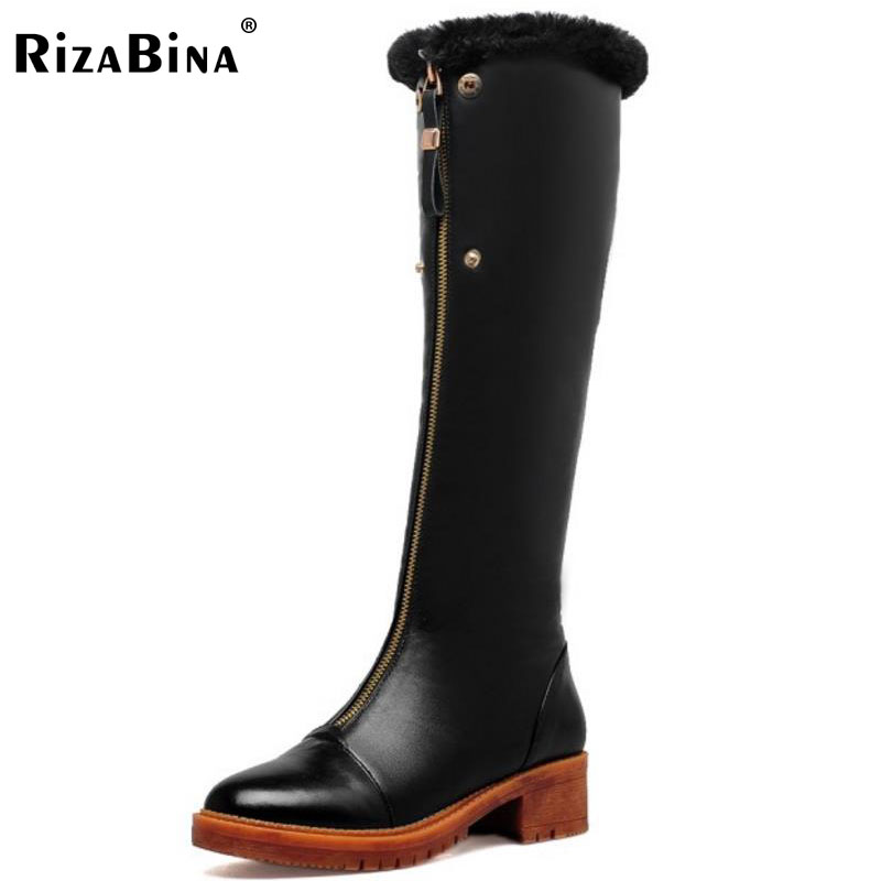 RizaBina Women Genuine Leather Knee High Heel Boots Women Warm Fur Shoes For Cold Winter Long Botas Women Footwears Size 33-40 купить