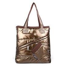 Hohe Qualität Frauen Handtaschen Mode Winter frauen Einzelnen Schulter Tote Kreativen Raum Pad Baumwolle Feather Down Eimer Handtasche