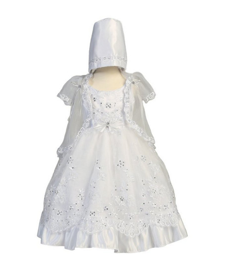 2016 New Todder Baby Girl Christening Dress Baptism Gown Baby Boy Lace Beading WITH BONNET 0 3 6 9 12 18 24Month