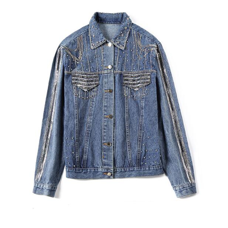 2019 Fashion Women Jacket High quality spring autumn Heavy Diamond beaded denim Coat women outwear Casual
