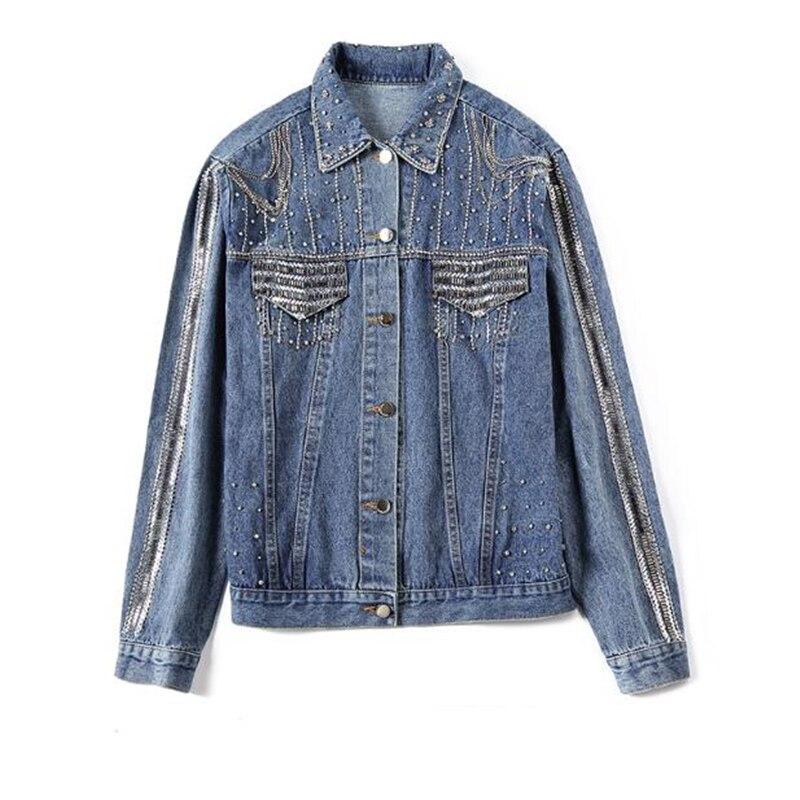 2019 chaqueta de mujer de moda de alta calidad primavera otoño pesado diamante con cuentas abrigo de mezclilla de mujer chaqueta de bombardero Casual de mujer-in chaquetas básicas from Ropa de mujer    1