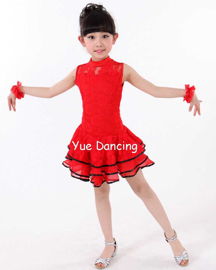 Lace Latin Dance Dress Samba/Ballroom Kids Dancing Clothes Child Dancewear Vestido Baile Latino Girls Salsa/Tango/Rumba Costume
