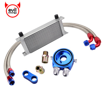evil energy 16Row AN10 Oil Adapter Filter+Engine Racing Oil Cooler Kit+Swivel Fuel Oil Hose Line+AN10 Seprator Divider Clamp wlr universal 15 rows trust type oil cooler an10 oil sandwich plate adapter with thermostat 2pcs nylon braided hose line black