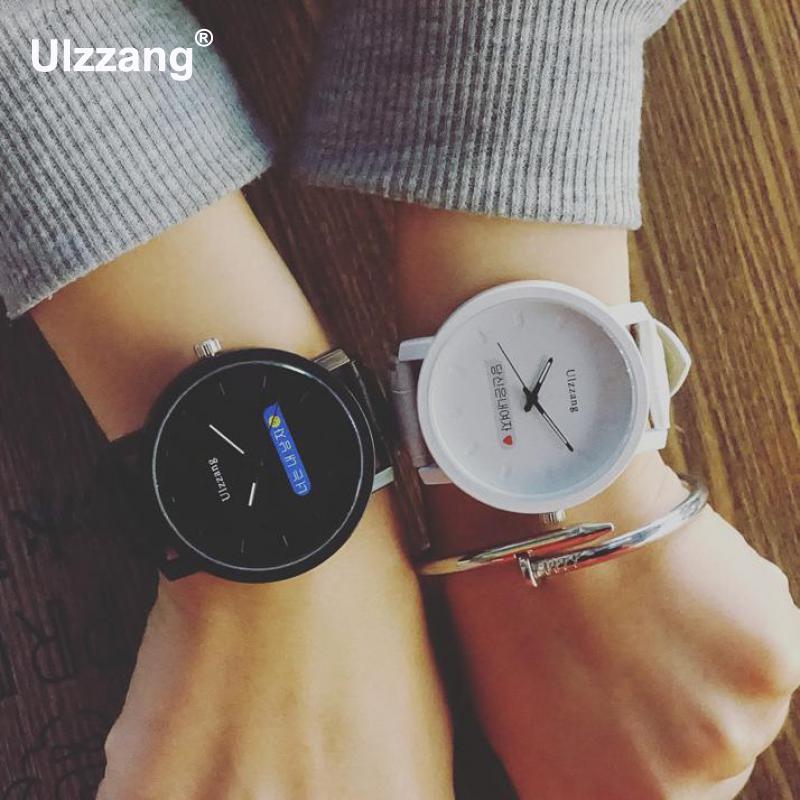 Original Ulzzang Brand PU Leather Korean Style Shockproof Quartz Wrist Watches Wristwatches For Men Women Unisex