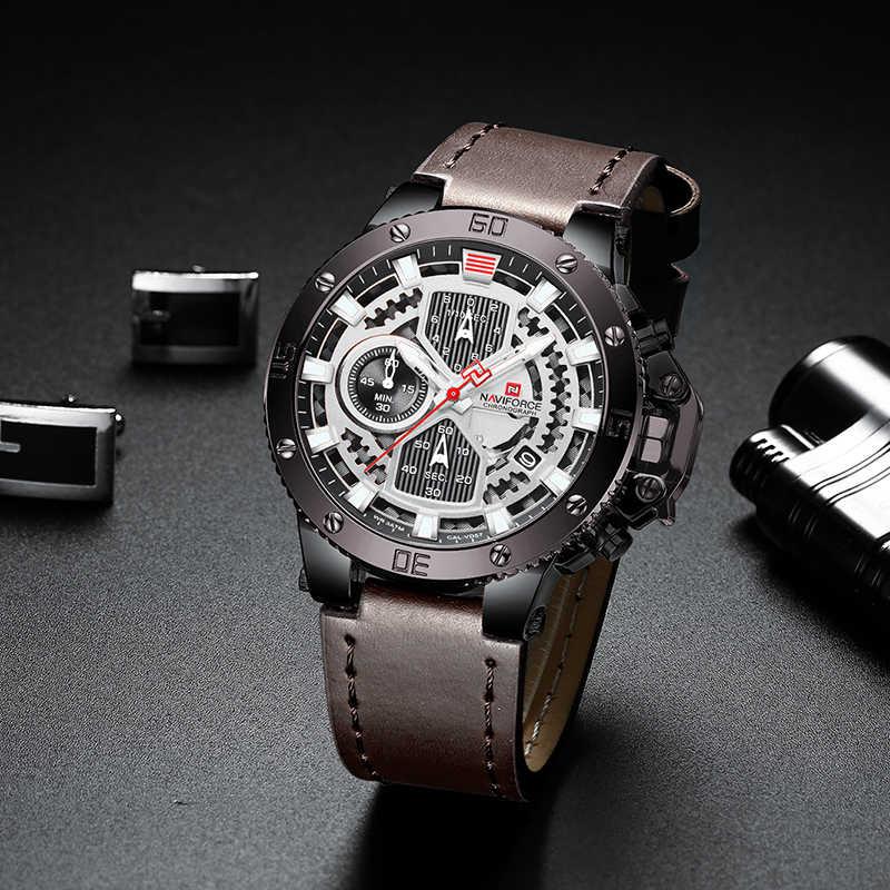 Relojes NAVIFORCE nuevo reloj militar de cuarzo de lujo de marca superior para hombre cronógrafo de cuero reloj impermeable para hombre