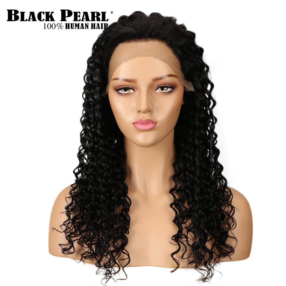 Noir perle 13x4 dentelle avant perruques de cheveux humains 130% densité brésilienne Remy cheveux vague profonde perruques de cheveux pour les femmes naturel noir