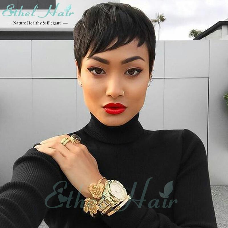 Celebrity Cheap Pixie Cut Human Brazilian Hair Very Short