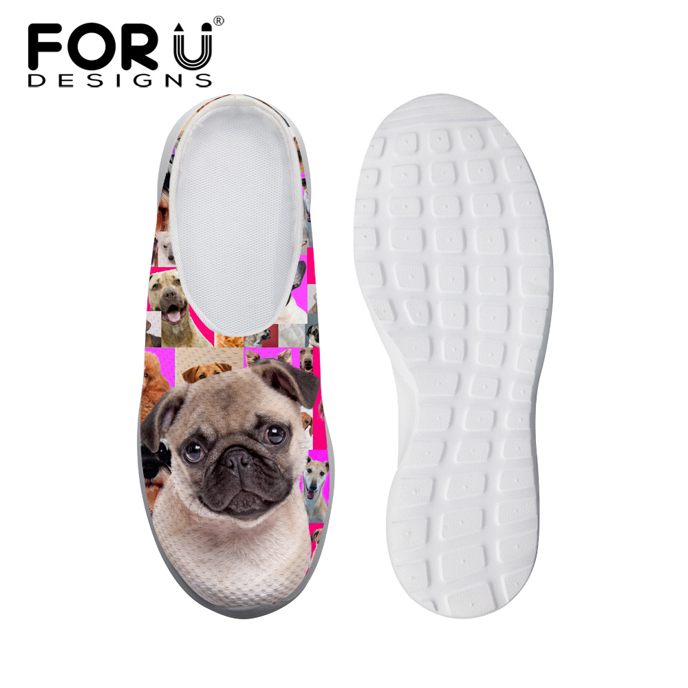 FORUDESIGNS Fashion Women's Mesh Sandals Lovely Animal Dog Pug Printed Summer Beach Water Slippes Female Breathable Lazy Shoes