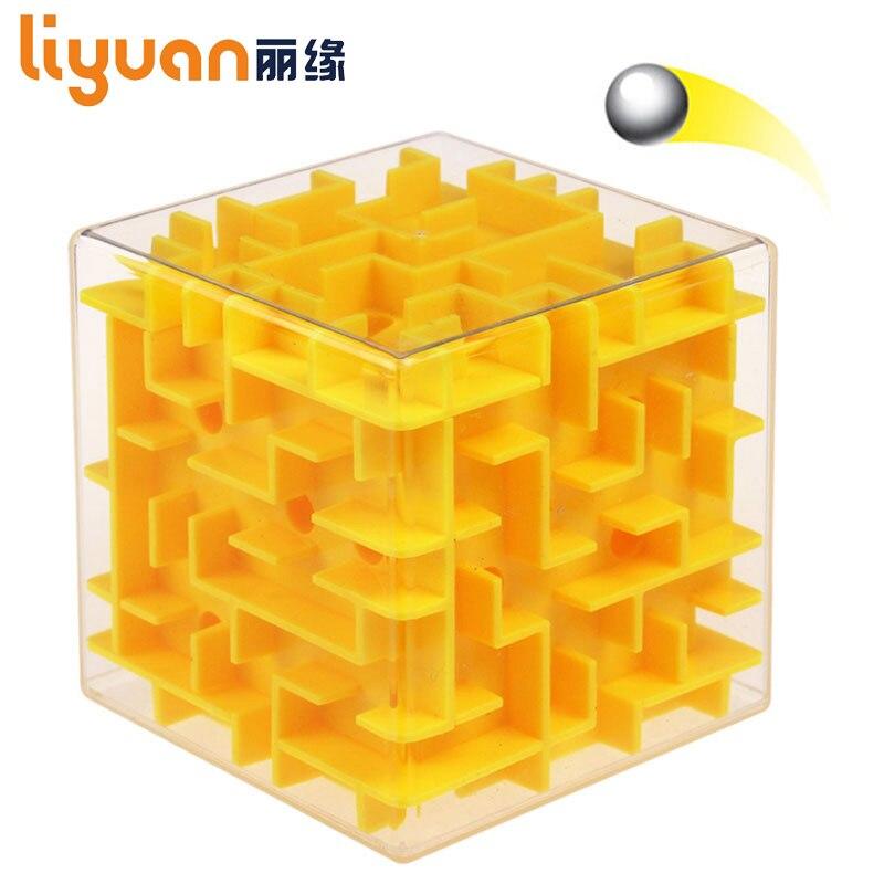 Cubo de Velocidade New Hot Labirinto Jogo de Puzzle Magic Cube Brinquedos 3D Mini Bola Rolando Amarelo