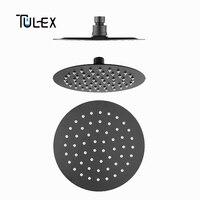 TULEX Black Rain Shower Head Round Overhead Rainfall 8 SUS 304 Rain Shower Head for Bathroom Shower Accessories for Bathroom