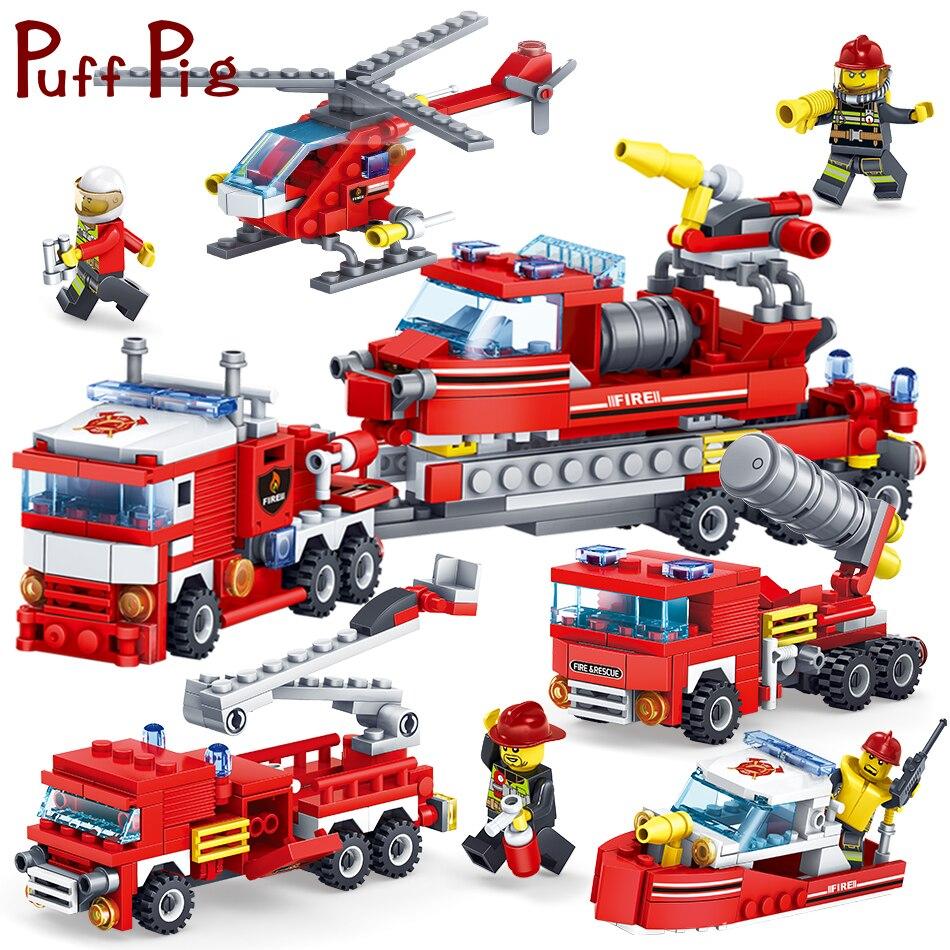 348 pcs 4IN1 Lutte Contre Les Incendies Camions Voitures Hélicoptère Modèle Chiffres Blocs de Construction Compatible Legoed Ville Station Jouets Pour Enfants