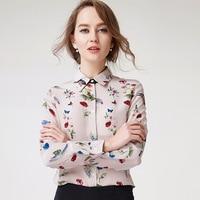 Woman 100% Silk Shirt Printed Long Sleeve Cardigan